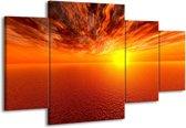 Canvas schilderij Zonsondergang | Geel, Oranje | 160x90cm 4Luik