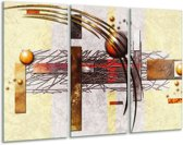 Canvas schilderij Art | Bruin, Crème | 120x80cm 3Luik