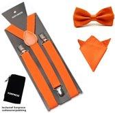 Bretels inclusief vlinderdas en pochette - Oranje - Sorprese - met stevige clip - bretels - vlinderdas – strik – strikje – pochet - luxe - unisex - heren - giftset
