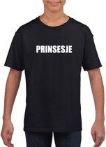 Prinsesje tekst t-shirt zwart meisjes M (134-140)