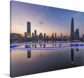 Skyline Shenzhen Canvas 30x20 cm - klein - Foto print op Canvas schilderij (Wanddecoratie woonkamer / slaapkamer) / Aziatische steden Canvas Schilderijen