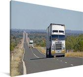 Vrachtwagens op een zonnige dag Canvas 90x60 cm - Foto print op Canvas schilderij (Wanddecoratie woonkamer / slaapkamer)