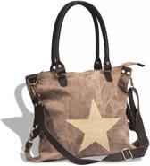 vidaXL Canvas Shopper - Dames - Stof - Bruin
