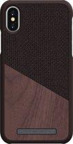 Nordic Elements Frejr backcover voor Apple iPhone X/Xs -  Walnoot hout / bruin textiel