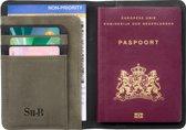 Su.B Luxe RFID Paspoort Hoesje met Pasjeshouder - Paspoorthouder - Paspoorthoes met Kaarthourder  - Zwart - Olijf