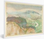 Foto in lijst - Landscape - Schilderij van Edgar Degas fotolijst wit 40x30 cm - Poster in lijst (Wanddecoratie woonkamer / slaapkamer)