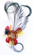 Veren hoofddeco op haarclip rood/wit/geel