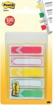 Post-it® Index Pijltjes, Standaard Set, Rood, outlined rood, geel, outlined groen, groen, 11,9 mm x 43.2 mm, 20 Tabs/Kleur, 5 kleuren /Dispenser