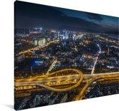 De Chinese stad Kunming in de nacht Canvas 30x20 cm - klein - Foto print op Canvas schilderij (Wanddecoratie woonkamer / slaapkamer) / Aziatische steden Canvas Schilderijen