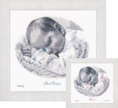 borduurpakket PN0169612 baby slaapt, geboorte (incl. blauw/rose garen)
