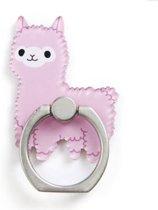 Roze Lama - Ring vinger houder- standaard voor telefoon of tablet