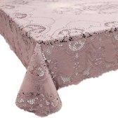 Binnen/buiten tafelkleed/tafellaken oud roze 137 x 180 cm rechthoekig - Rechthoekige kanten tafelkleden Amira - Tuintafelkleed tafeldecoratie