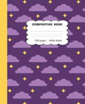 Composition Book 100 Pages Wide Ruled: Blank Lined Single Subject Notebook For Elementary & Secondary School Students - with Academic Calendar - Purpl
