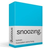 Snoozing - Katoen - Extra Hoog - Hoeslaken - Lits-jumeaux - 160x220 cm - Turquoise
