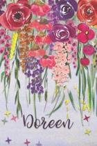 Doreen: Personalized Lined Journal - Colorful Floral Waterfall (Customized Name Gifts)