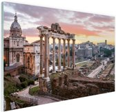 Zonsopgang Romeinse Forum Glas 120x80 cm - Foto print op Glas (Plexiglas wanddecoratie)