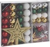 45x Kerstballen zilver/goud/groen/rood/wit 4-5-8 cm/piek  - Mat/glans/glitter - Onbreekbare kerstballen - Kerstboomversiering