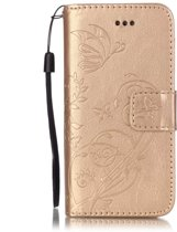 Book Case Hoesje Bloemen iPhone 5S / SE - Goud
