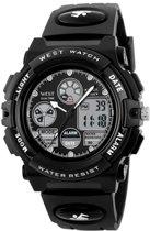 West Watch – multifunctioneel kinder/ tiener sport horloge - model Rock – Zwart