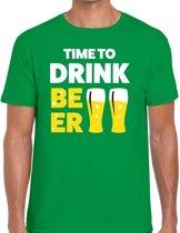 Time to drink Beer tekst t-shirt groen heren -  feest shirt Time to drink Beer voor heren M