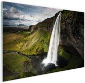 Seljalandsfoss waterval Glas 30x20 cm - klein - Foto print op Glas (Plexiglas wanddecoratie)