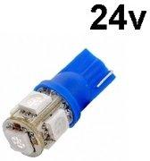 T10 - 24 volt - 5 LED - 5050 SMD - BLAUW