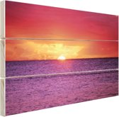 FotoCadeau.nl - Zonsondergang over paarse zee Hout 120x80 cm - Foto print op Hout (Wanddecoratie)