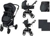 XAdventure Inspire Combi Kinderwagen - Jeans - Zwart - Inclusief autostoel