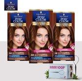 Schwarzkopf Poly Color Creme Haarverf - 38 Lichtgoudbruin - 3 Pack Voordeelverpakking - Gratis Haarloop