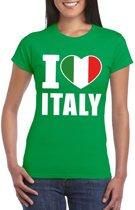 Groen I love Italy supporter shirt dames - Italie t-shirt dames S