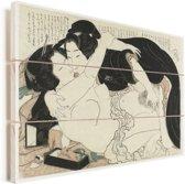 Weduwe en jongeman - Schilderij van Katsushika Hokusai Vurenhout met planken 30x20 cm - klein - Foto print op Hout (Wanddecoratie)