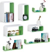 relaxdays 7-delige wandbox set - wandboard - keukenrek - wandplank - wit-groen