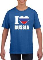 Blauw I love Rusland supporter shirt kinderen - Russisch shirt jongens en meisjes M (134-140)