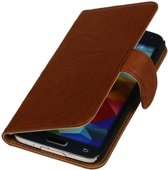 Wicked Narwal   Echt leder bookstyle / book case/ wallet case Hoes voor Samsung Galaxy S5 Active G870 Bruin