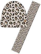 Wintersetje sjaal en muts beige panter/luipaard print voor meisjes - winter accessoires setje voor meisjes