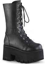 ASHES-105 - (EU 39 = US 9) - 3 1/2 Chunky Heel, 2 1/4 PF Lace-Up Mid-Calf BT, Side Zip