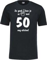 Mijncadeautje - Leeftijd T-shirt - Zo goed kun je er uitzien 50 jaar - Unisex - Zwart (maat L)