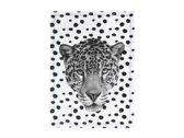 Tea towel Leopard face cotton w. blue stitch