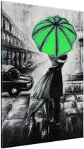 Schilderij handgeschilderd Liefde | Groen , Zwart , Grijs | 70x120cm 1Luik