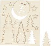 DIY Houten figuren, kerstbomen, l: 20 cm, b: 17 cm, triplex, 1doos, dikte 3 mm