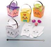 Baker Ross Inkleurbare traktatiedoosjes voor Pasen (12 stuks per verpakking) Paasknutselwerkjes voor kinderen om in elkaar te zetten, te versieren en te gebruiken tijdens het paaseieren zoeken