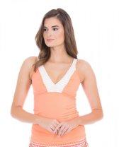 Cabana Life UV beschermende Tankini top Dames - Oranje/Wit - Maat 44 (XL)