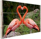 Verliefde flamingos vormen hart Hout 60x40 cm - Foto print op Hout (Wanddecoratie)
