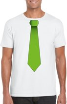 Wit t-shirt met groene stropdas heren L