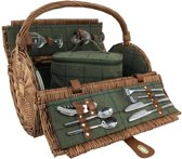 2 persoon groene tweed rieten picknickmand