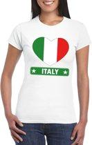 Italie hart vlag t-shirt wit dames S