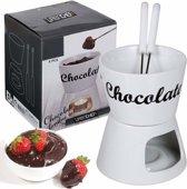 Chocolade Fondue Theelichtje Porselein Set Met 2 Vorken Voor Eenvoudig Dippen - Wit