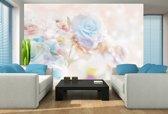 Fotobehang Papier Roos, Bloemen | Blauw | 254x184cm
