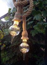 Touw lamp vintage 2x2 meter met zwarte plafondplaat en 2 ledlampen.