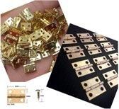 Set van 100 mini koperen scharniertjes, 10x8 mm